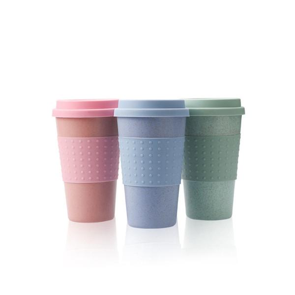 top popular Silica Gel Coffee Cup Wheat Straw Fiber Mug With Lid Plastic Car Tumblers Portable Silicone Coffee Cups Water Bottle GGA2688 2021