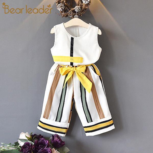 Urso Líder Meninas Conjuntos de Roupas de Verão Moda meninas sem mangas Splicing design T-shirt + calça Casual 2 Pcs Roupas