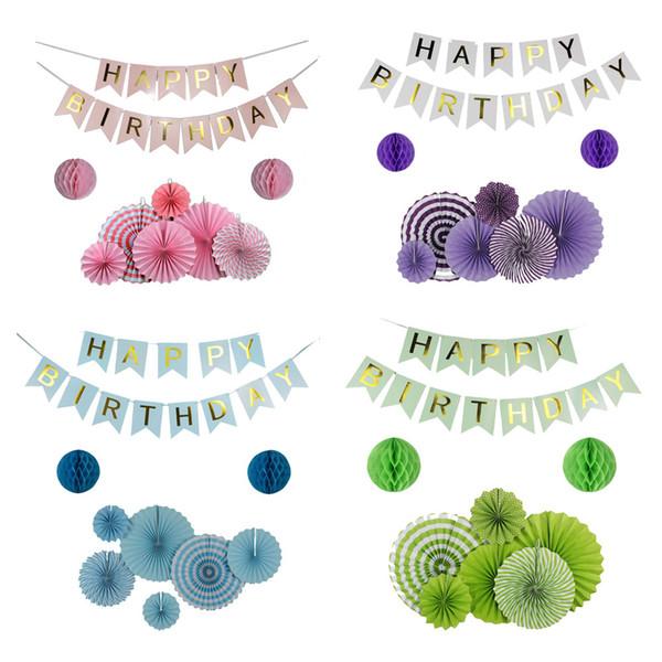 9pcs / Set vert / rose / bleu / violet ensemble fan de papier suspendu pour la décoration de fête, bannière de joyeux anniversaire pour garçon fille Baby Shower Decor