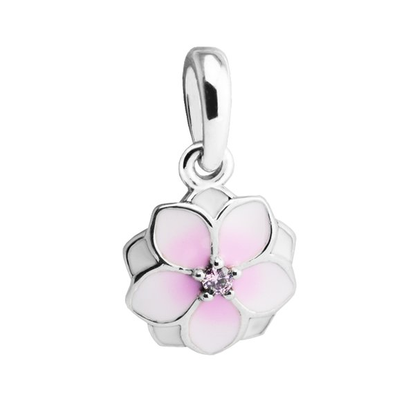 Magnolia Bloom Silver Charms for Women Jewelry Making Spring Silver 925 Jewelry Pink Flower Charms for DIY Bracelets & Bangles