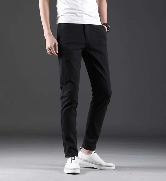 Silky casual pants men's straight slim nine points summer ice silk thin section cotton youth youth trend tide pants