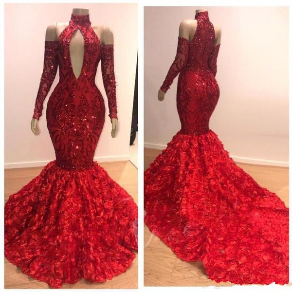 Charme Mermaid Red Prom Dresses 2019 Ruched Rose Court Train Abito da sera Collo alto spalle maniche lunghe Party Dress Zipper indietro