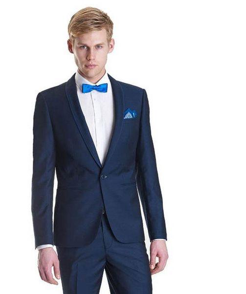 Navy Blue Men Suit Black Shawl Lapel Jacket Pants 2Piece Men Wedding Suit Best Man Blazer Slim Fit Groom Tuxedo Stage Red Carpet