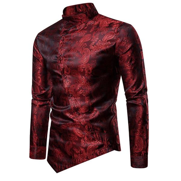 Wine Mens Red Paisley Jacquard camisa do smoking Homens Elegante Irregular Hem Mandarin Collar Mens camisas de vestido de casamento Chemise Homme