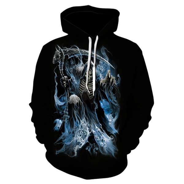 The popular new 2019 skull 3D printed hoodie comes with a new design for men's and women's sports shirts and casual, thin hoodie