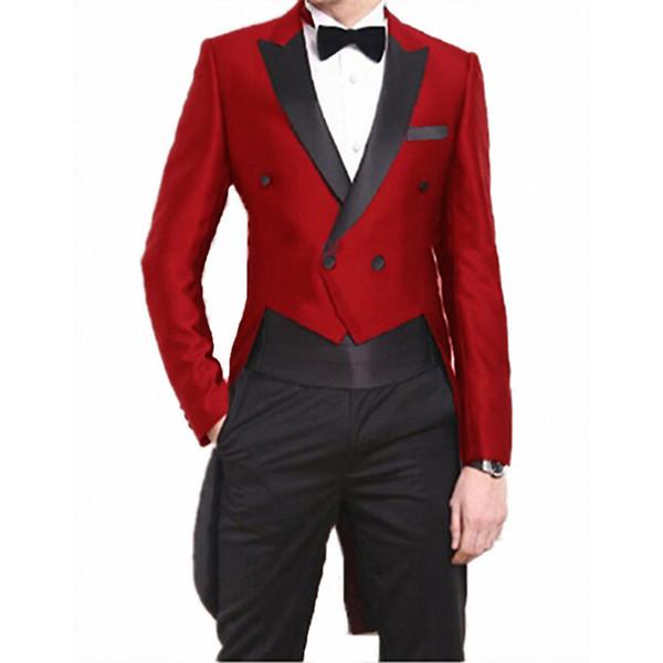 Отворотом Mens ласточкин хвост Банкет платье костюмы 2 шт Vintage Грум костюмы Комплекты Фрак Blazer куртка для рождественского ужина