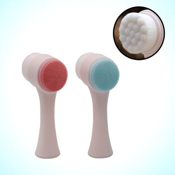 Silicone double face Nettoyant pour le visage Nettoyant pour le visage Brosse Soins de la peau Brosse de lavage Masseur Nettoyant pour les pores Nettoyant pour le visage