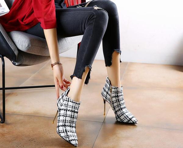 Tasarımcılar Kadın Lüks Martin Çizmeler Ayak Bileği Çizmeler Ekose Stiletto Sivri Burun Zip Kırmızı alt Kadın Elbise Ayakkabı Parti Düğün Ayakkabı Pompalar