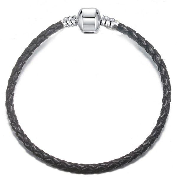 top popular 1pcs Drop Shipping Leather Bracelet Black Red Chain Fit for pandora Bangle Bracelet Women Children Gift B017 2021