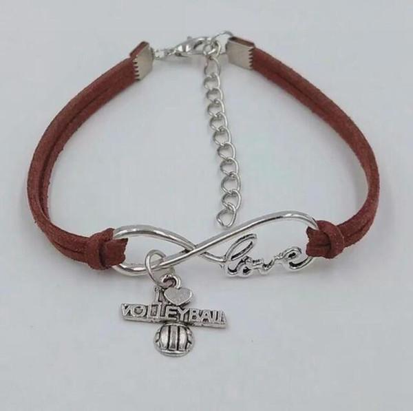 Infinity Love 8 Bracelet I love volleyball Pendant Simple Bracelets & Bangles For Women Men Girl Boy Unisex Jewelry Gifts