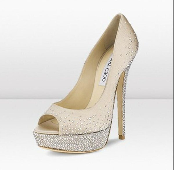 Jimmy KC Choo High Heels heels 1 Platform Pumps Nude Patent Leather Peep-toe Women Dress Sandals Shoes d1