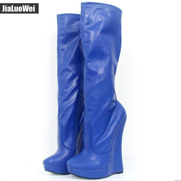 18cm High Heel Hoof Wedge heels Platform Pointed Toe Women PU Leather Side Zipper Sexy Fetish Knee-High Boots Costume ball stage show shoes