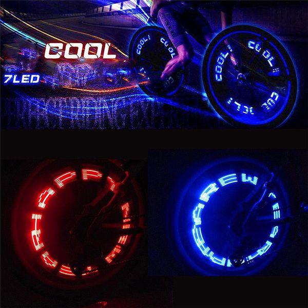Aubtec Tyre Valve Caps Wheel Spokes 7 Led Light Bike Light Battery Mountain Road Bike Bicycle Warning Lights Accessories