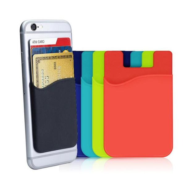 Portefeuille de téléphone portable, ultra-mince autocollant en silicone autocollant pour carte de crédit, portefeuille, étui, pochette, pochette, poche pour téléphones intelligents