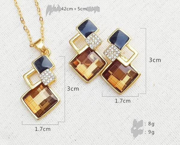 Fashion Square Diamond Necklace Earring Set