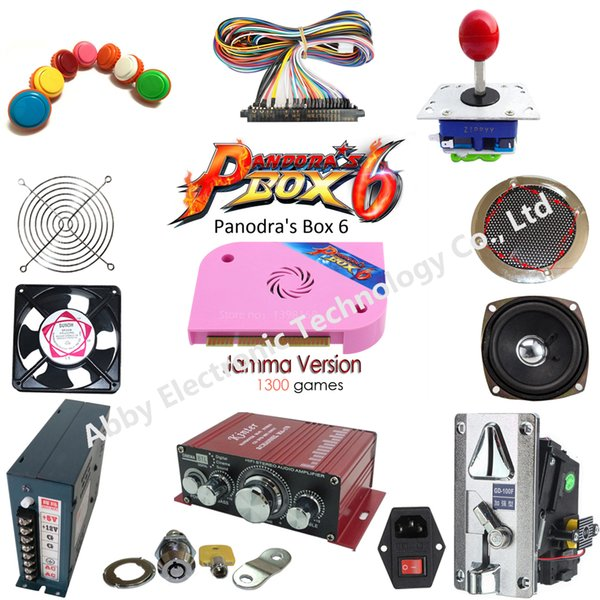 DIY Arcade parts Bundles Kit with 1300 in 1 multi game board Joystick switching power supply Buttons To Build Up Arcade Machine