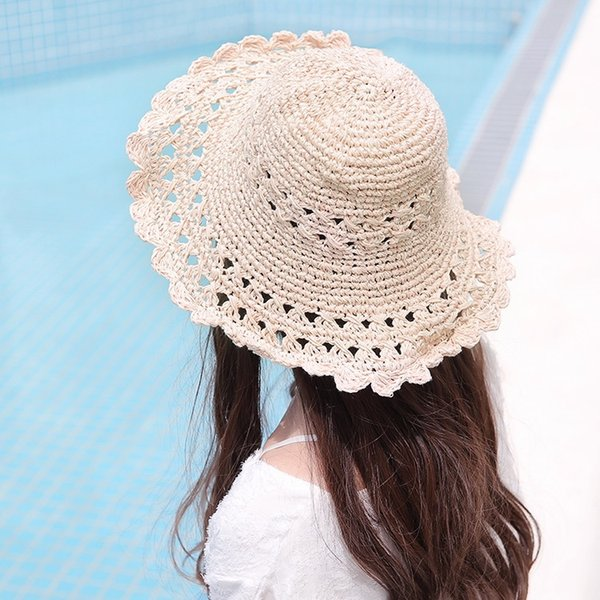 Japan and South Korea Spring and Summer New Handmade Cotton Line Straw Hollow Pattern Folding Beach Shade Big Hat Wild Hat