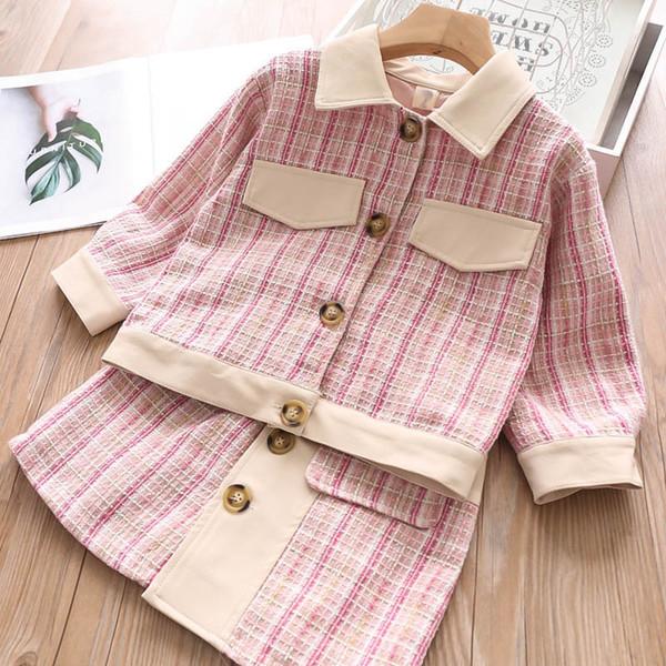 2color kızlar tasarımcı kıyafetler moda kızlar çocuklar A7915 giyim kıyafetler çocuklar tasarımcı kıyafetleri kız mont + etek 2pcs / set çocuklar uygun