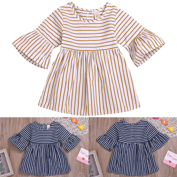 2colors Summer baby girls dresses Girl Round-collar striped horn sleeve Dress Two-color Princess skirt kids designer clothes girls DHL JY488