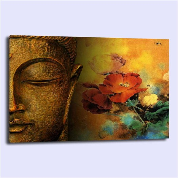 BUDDHA FLOWERS Religion Spiritual,Home Decor HD Printed Modern Art Painting on Canvas (Unframed/Framed)
