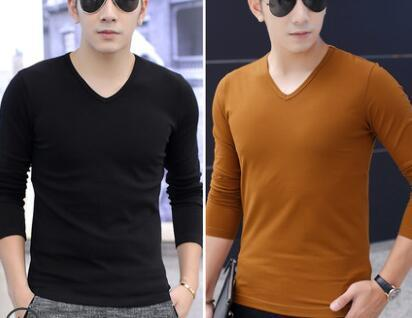 ` modal long-sleeved T shirt for men v-neck autumn clothes with velvety bottom coat and small sweater with thermal jacket in winter