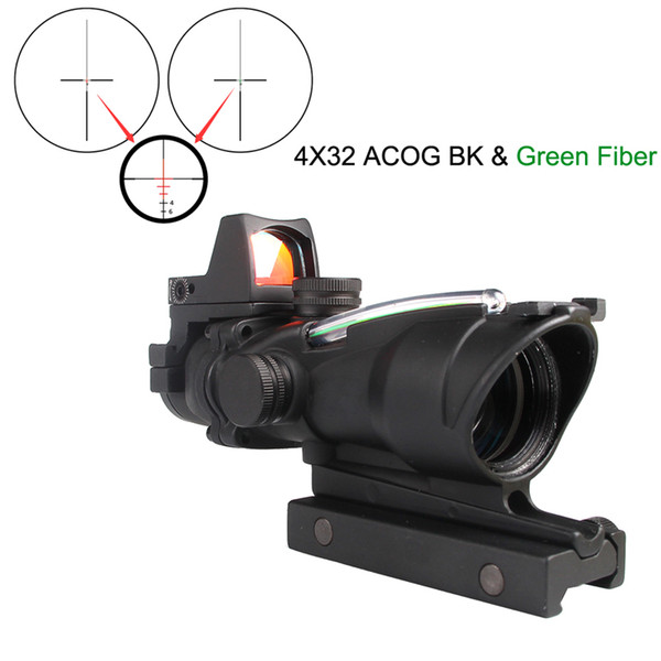 Tactical Trijicon Airsoft ACOG 4X32 Sight Scope Real Red Fiber Source Red Illuminated Rifle Scope w/ RMR Micro Red Dot