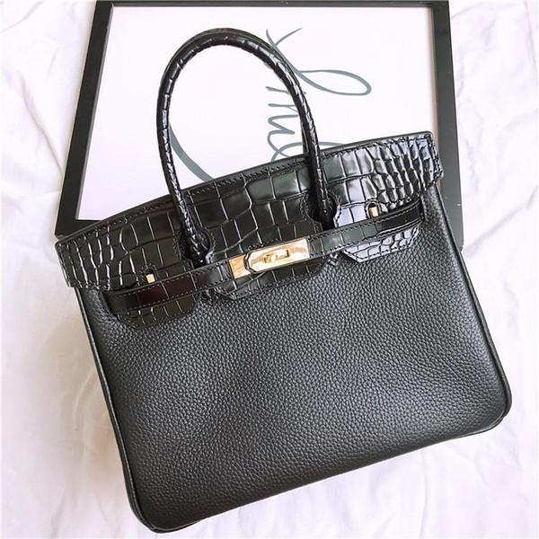 Crocodilo de Couro genuíno com Padrão de Lichia Bolsa de Ombro Mulheres Negras Bolsas Senhoras Sacos de Mão Messenger Bags Bolsa Feminina