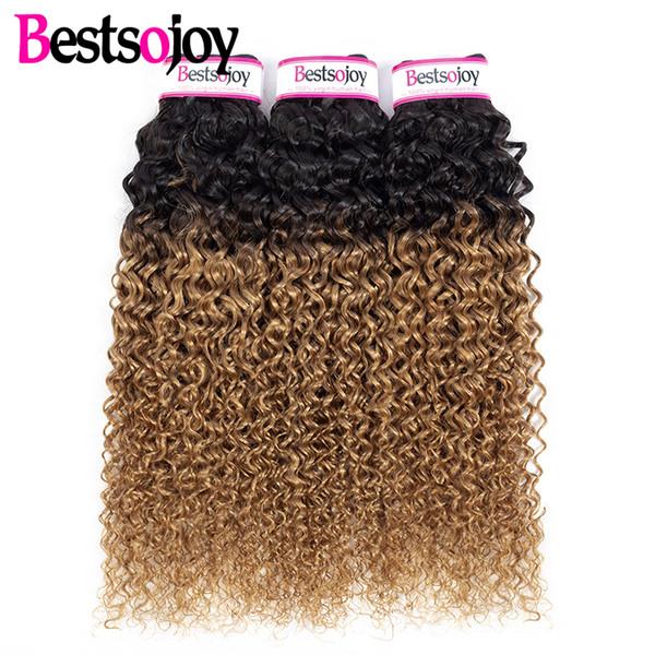 Bestsojoy Ombre 1b / 27 Brésiliens Kinky bouclés Bundles de cheveux humains 3Pcs Blonde Vierge Ombre Kinky bouclés Extensions de tissage de cheveux