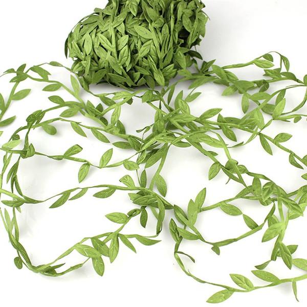 77m Vite artificiale foglia simulazione foglie di fogliame verde foglie rattan falso corona parete di casa decorazione del partito del giardino di nozze
