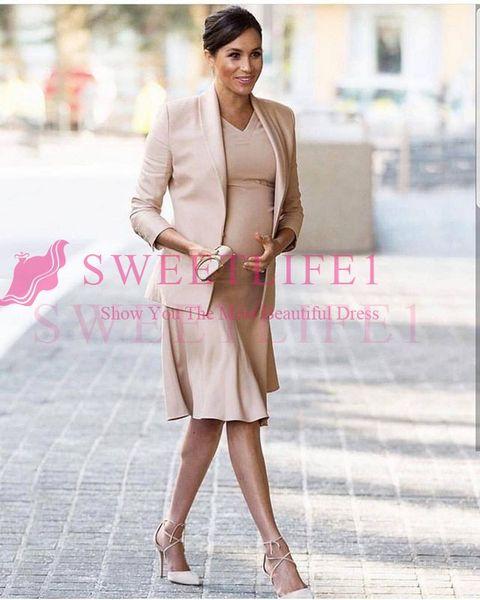 2019 Megen Nude Pink Knne Length Mother Dresses With Jacket A Line Formal Evenig Occasion Mother Of The Bride Grooms Dresses Vintage Style