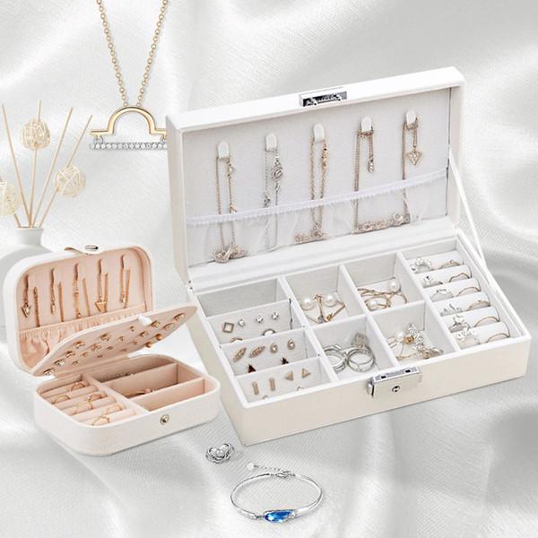 de la moda de joyería de almacenamiento mujeres de la caja del recorrido del maquillaje organizadores de chicas collar de anillos de exhibición de los productos cosméticos Collection