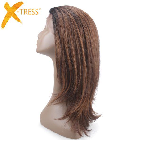 Perruque de cheveux synthetiques moyen brun devant la partie libre X-tress Ombre couleur perruque frontale de dentelle droite avec des cheveux de bb pour les femmes Y190717