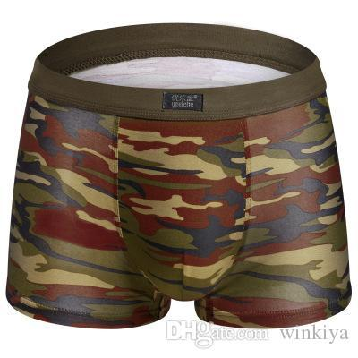 Male Underwear Men Boxers Shorts Fashion Breathable Modal U Convex Crotch Boxers Homme Sexy Tide Camouflage Printed Cueca X291