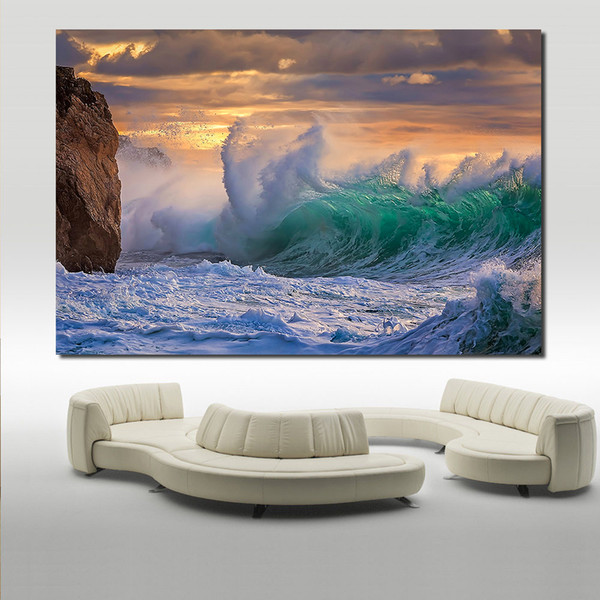 1 Piece Printing Oil Painting Wall painting clouds of the storm waves rock Sea Sky Wall Art Picture For Living Room