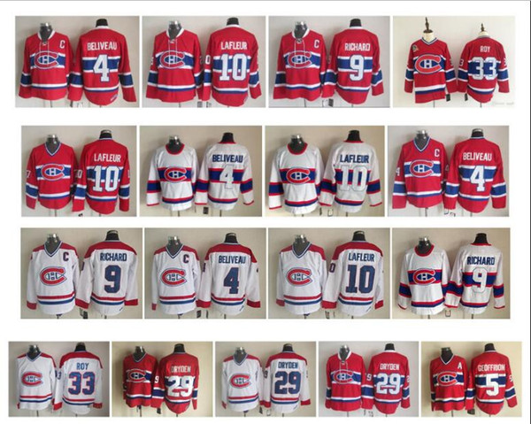 Vintage Montreal Canadiens Jersey 33 Patrick Roy 4 Jean Beliveau 9 Maur Richard 10 Guy Lafleur 29 Ken Dryden 5 Geoffrion CCM Hockey Jerseys
