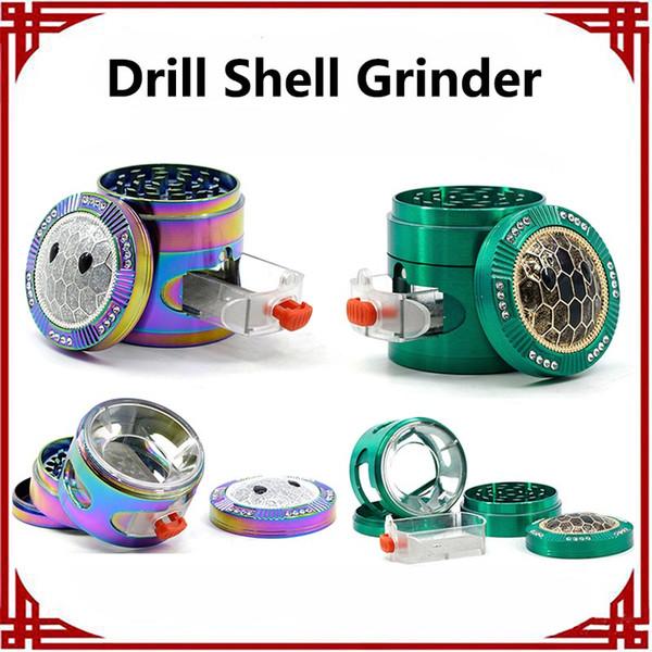 Taladro Shell Grinder Herb Grinder 63 MM Aleación de Zinc Ventana lateral Shell Smoking Grinder Precio de fábrica Envío gratis El más nuevo