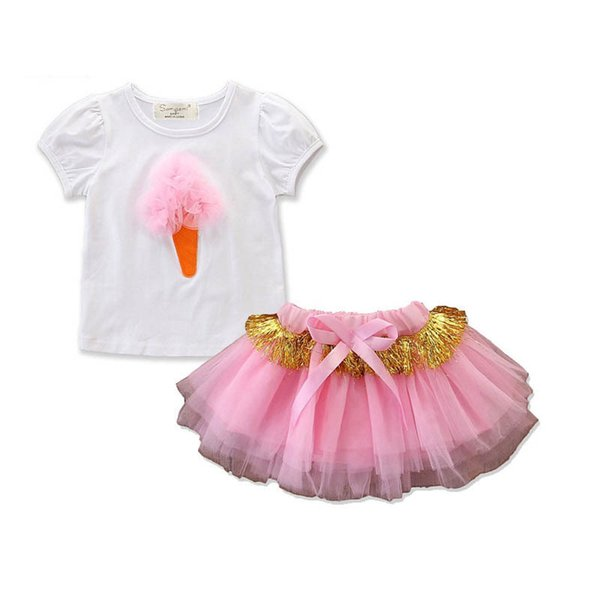 Ins girls suits birthday party kids sets kids designer clothes girls outfits Summer toddler girl clothes T-Shirt+Tutu Skirts 2pcs A5846