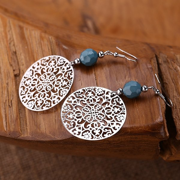 Chinese Style Earrings Fashion Retro The Circular Hollow Out Earrings Female Long Section The Complex Patterns Earrings