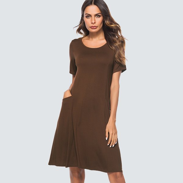Women Casual Brief Shift Mini Summer Elegant Round Neck Loose Straight Lady Dress Ht027 C19042201