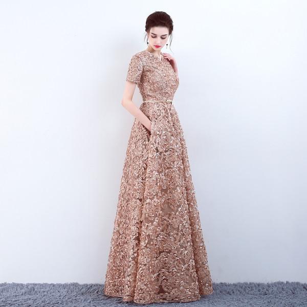 Venda Por Atacado Com Bolsos Moda Khaki Lace Prom Dress Simples Andar de comprimento Festa Noite Formal