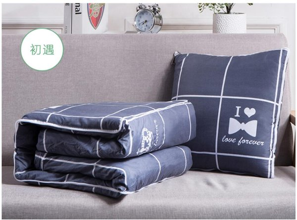 2 In 1 Summer Foldable Cushion Blanket Patchwork Quilt Blanket Car Seat Cushion Office Nap Pillow For Chairs Back