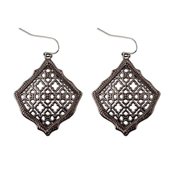 2019 New Kendra Square Kite Filigree Cutout Morocco Dangle Drop Earrings for Women Metallic Filigree Kendra Style Drop Earrings