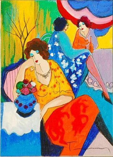 Itzchak Tarkay Nouvelles Figurazione Casa Opere d'Senhora pittura a olio a mano su tela Concavo e convesso Texture IT099