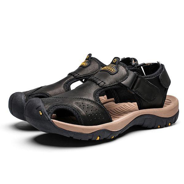 Compre Zapatos De Senderismo De Cuero De Moda Para Hombre Zapatillas Planas Zapatillas De Agua Para La Playa Sandalias Deportivas Color Sólido Cómoda