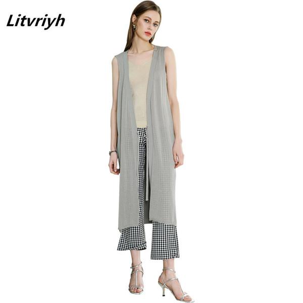 summer thin long female cardigan V-neck sleeveless belt knitted cardigan women sweater pull femme knit tops jumper women coats
