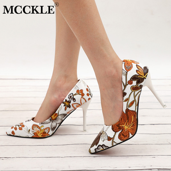 Dress Shoes Mcckle Woman Slip On Elegant Leaves Printing Ladies Sexy Party Dress Pumps Stiletto Female Floral Thin High Heels Shoe