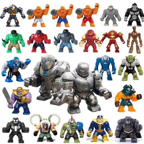 Iron Hulk Blocks 24 design 3inch Marvel The Avengers Superhero Big Building Blocks iron Man Action Figures Gift for children