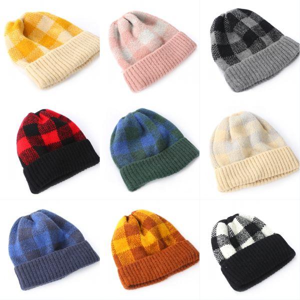 9 Styles Women Girls Hat Sports Keep Warm Autumn Winter Knitted Hats Fleece Beanies 201908 Two-Tone Plaid Cap Wool Hemming Ski Caps M205F