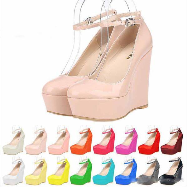 Zapatos de boda de cuero de las señoras de la plataforma de las cuñas del tobillo de las mujeres de 2019 tacones altos