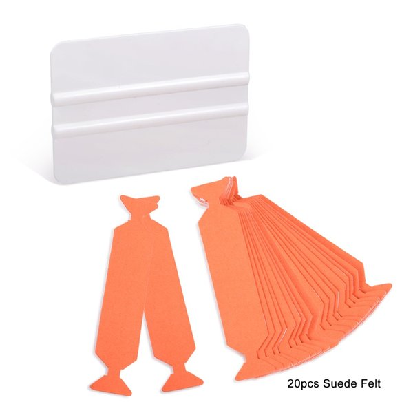 EHDIS 20pcs Suede Edge Felt With White Card Squeegee Scraper Vinyl Film Car Wrap Cleaning Tools Window Tinting Sticker Tools
